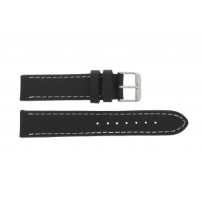 Uhrenarmband 61330.10.22XL Leder Schwarz 22mm + braunen nähte