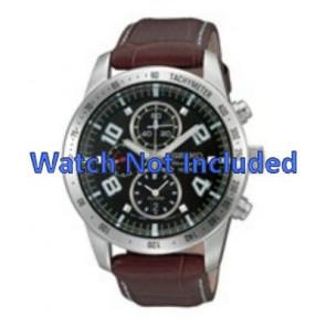 Seiko Uhrenarmband 7T62-0HX0 / SNAC11P1 / 4A332JL  Leder Braun 21mm + weiße nähte