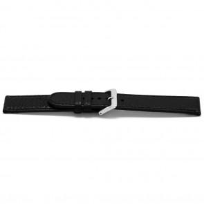 Uhrenarmband B113Z Leder Schwarz 10mm + schwarzen nähte