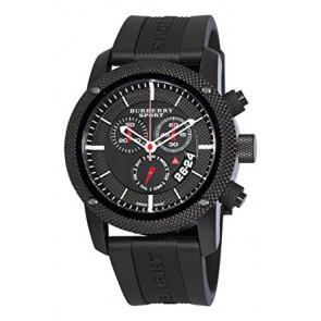 Uhrenarmband Burberry BU7701 Silikon Schwarz 24mm
