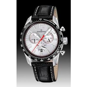 Candino Uhrenarmband C4429-1 Leder Schwarz + weiße nähte