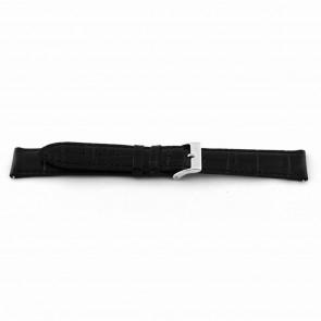 Uhrenarmband EX-D015 Leder Schwarz 14mm + schwarzen nähte