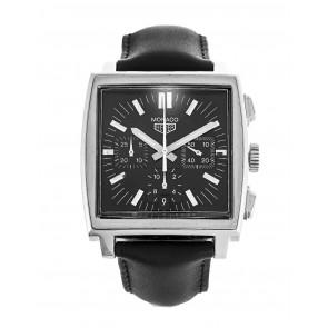 Uhrenarmband Tag Heuer CS2111-BC0787 Leder Schwarz 22mm