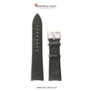Uhrenarmband Hamilton H38755731 Leder Schwarz 22mm
