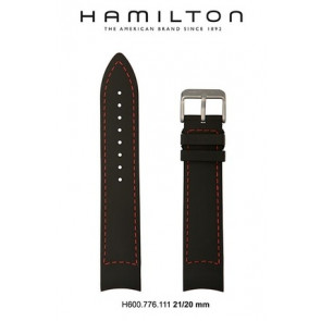 Uhrenarmband Hamilton H776350 / H001.77.635.333.01 Leder Schwarz 21mm
