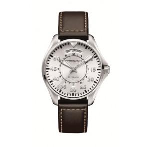 Uhrenarmband Hamilton H64615555 Leder Dunkelbraun 20mm