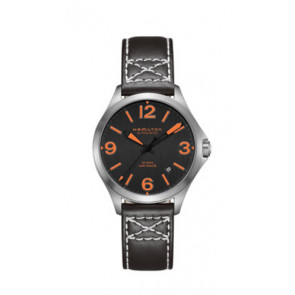 Uhrenarmband Hamilton H76235731 Leder Schwarz 19mm