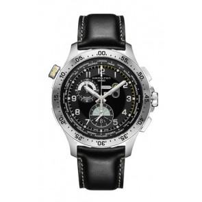 Uhrenarmband Hamilton H76714735 Leder Schwarz 22mm