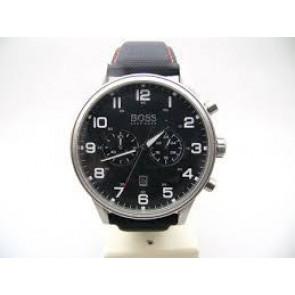 Uhrenarmband Hugo Boss HB.199.114.2570 Leder/Kunststoff Schwarz 22mm