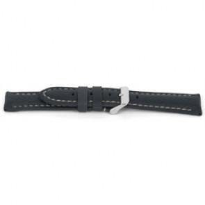 Uhrenarmband H080 XL Leder Grau 22mm + weiße nähte