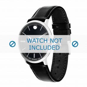 Movado Uhrenarmband 0607086 Leder Schwarz 20mm + standardnähte