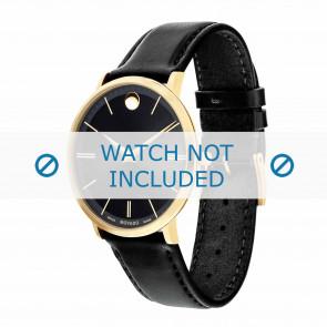 Movado Uhrenarmband 0607087 Leder Schwarz 20mm + standardnähte