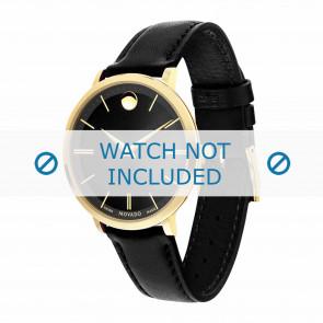 Movado Uhrenarmband 0607091 Leder Schwarz 16mm + standardnähte