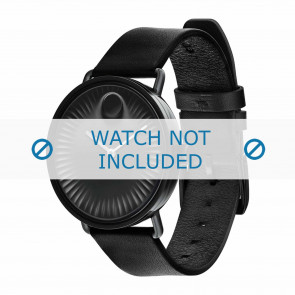 Movado Uhrenarmband 3680039 Leder Schwarz 20mm