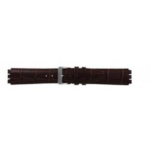 Uhrenarmband für Swatch echtes Leder dunkelbraun 17mm 21414