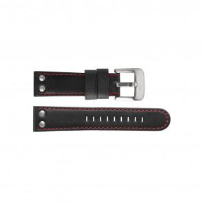 TW Steel Uhrenarmband TW411 / TWB411 Leder Schwarz 24mm + roten nähte