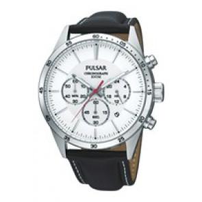 Uhrenarmband Pulsar VD53-X001 PT3007X1 (PP069X) Leder Schwarz