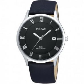 Uhrenarmband Pulsar VX42-X355 Leder Schwarz 20mm