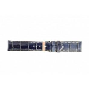 Kroko echt Leder Uhrenarmband dunkelblau mit weiß abgesetzter Naht WP-61324.34mm