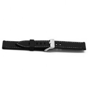 Uhrenarmband Gummi 22mm Schwarz + weißen Nähten EX XH18