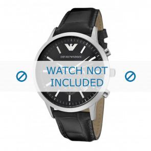 Armani Uhrenarmband AR2447 Leder Schwarz 22mm + schwarzen nähte