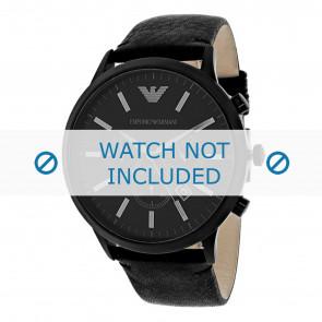 Armani Uhrenarmband AR2461 Leder Schwarz 24mm