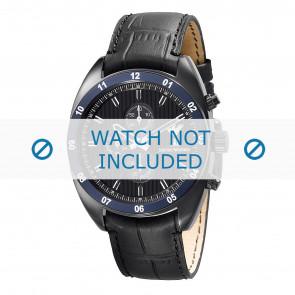 Armani Uhrenarmband AR5916 Leder Schwarz 22mm + schwarzen nähte