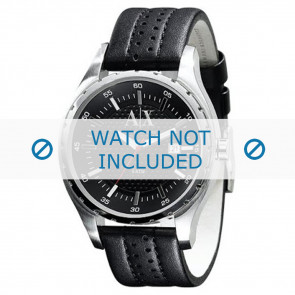 Armani Uhrenarmband AX-1055 Leder Schwarz 22mm