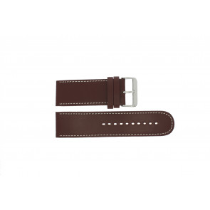 Prisma Uhrenarmband 28BR Leder Braun 28mm + weiße nähte