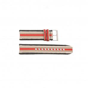 Burberry Uhrenarmband BU7601 Leder Schwarz 22mm + weiße nähte