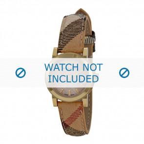 Burberry Uhrenarmband BU9219 Leder Cremeweiß / Beige 14mm + braunen nähte
