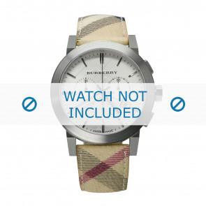 Burberry Uhrenarmband BU9360 Leder Cremeweiß / Beige 20mm + weiße nähte