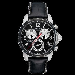 Certina Uhrenarmband C610007730 Leder Schwarz 20mm + weiße nähte
