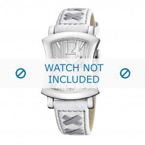 Calypso Uhrenarmband K5198-1 Leder Weiss 17mm + grauen nähte