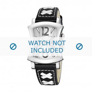 Calypso Uhrenarmband K5198-3 Leder Schwarz 17mm + weiße nähte