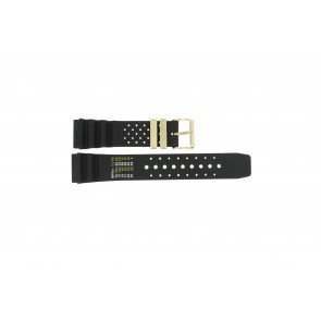 Uhrenarmband Universal CMT-22-DBL Kautschuk Schwarz 22mm
