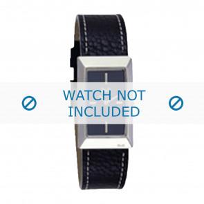 Dolce & Gabbana Uhrenarmband 3719040015 Leder Schwarz + weiße nähte