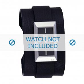Dolce & Gabbana Uhrenarmband 3719040031 Leder Schwarz + schwarzen nähte