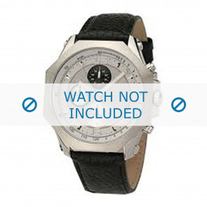 Dolce & Gabbana Uhrenarmband DW0102 Leder Schwarz + schwarzen nähte