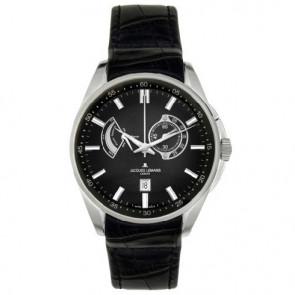 Jacques Lemans Uhrenarmband G175 Leder Schwarz 22mm + schwarzen nähte