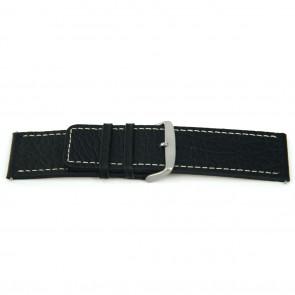 Echtes Lederarm Uhrenarmband schwarz mit weiß abgesetzter Naht 22mm EX-H79