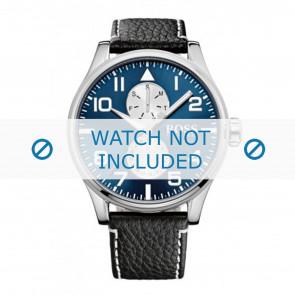 Hugo Boss Uhrenarmband HB-88-1-14-2734 / HB1513084 Leder Schwarz 24mm + weiße nähte