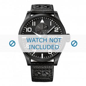 Hugo Boss Uhrenarmband HB-88-1-34-2733 / HB1513083 Leder Schwarz 24mm + schwarzen nähte