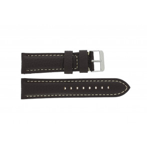Uhrenarmband G038 XL Leder Dunkelbraun 20mm + weiße nähte