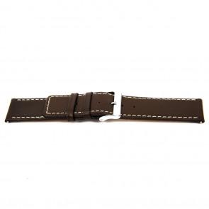Uhrenarmband N310 Leder Dunkelbraun 34mm + weiße nähte