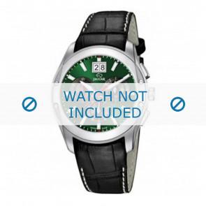 Jaguar Uhrenarmband J615-3 / J615-A / J615-B / J615-D / J615-E / J615-G / J615-H / J615-I / J615-J / J615-K Kroko leder Schwarz 22mm + weiße nähte