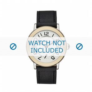 Marc by Marc Jacobs Uhrenarmband MJ1514 Leder Schwarz 18mm + schwarzen nähte