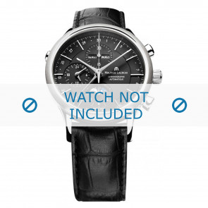 Maurice Lacroix Uhrenarmband LC6078-SS001-331 Leder Schwarz + schwarzen nähte