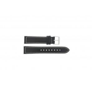 Max Uhrenarmband Z22 Leder Schwarz 22mm + weiße nähte