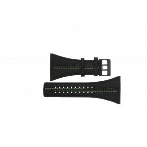 Police Uhrenarmband PL13497JSB.02 / GR Leder Schwarz 44mm + grünen nähte